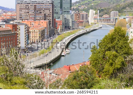 BILBAO, SPAIN - APRIL 9: View of Bilbao city from Etxebarria park on April 9, 2015 in Bilbao, Basque Country, Spain