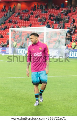 BILBAO, SPAIN - JANUARY 20: Dani Alves in heating before  the quarter-finals of the Cup match between Athletic Club Bilbao, celebrated on January 20, 2016, - stock photo