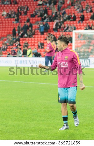 BILBAO, SPAIN - JANUARY 20: Dani Alves moments before the at the quarter-finals of the Cup match between Athletic Club Bilbao, celebrated on January 20, 2016, - stock photo