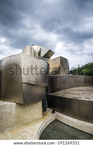 Bilbao, Spain - July 25, 2016: Guggenheim Museum by the architect Frank  Gehry