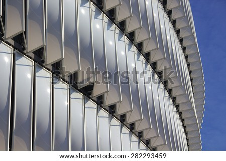 BILBAO, SPAIN - MAY 28 2015: Detailed view of San Mames football stadium in Bilbao, Basque Country, Spain - stock photo