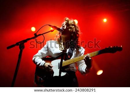 BILBAO, SPAIN - OCT 31: Anna Calvi (band) live performance at Bime Festival on October 31, 2014 in Bilbao, Spain. - stock photo