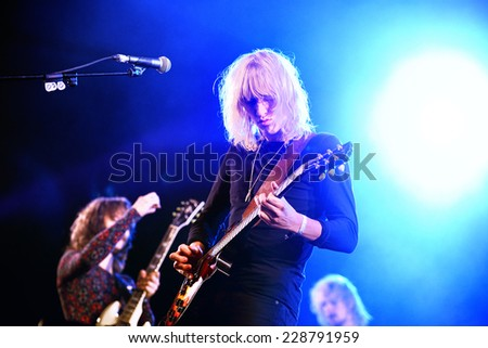 BILBAO, SPAIN - OCT 31: Go Go Berlin (Danish rock band) live performance at Bime Festival on October 31, 2014 in Bilbao, Spain. - stock photo