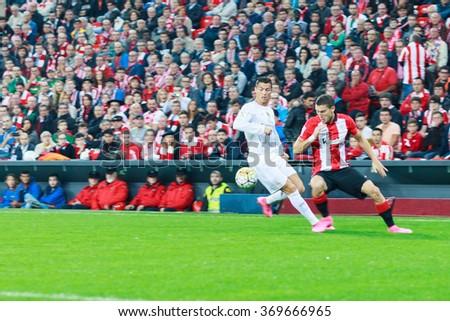BILBAO, SPAIN - SEPTEMBER 23: Cristiano Ronaldo and Oscar de Marcos in the match between Athletic Bilbao and Real Madrid, celebrated on September 23, 2015 in Bilbao, Spain - stock photo