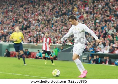 BILBAO, SPAIN - SEPTEMBER 23: Cristiano Ronaldo goal shoot in the San Mames Stadium, on September 23, 2015 in Bilbao, Spain - stock photo