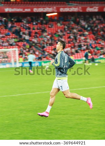 BILBAO, SPAIN - SEPTEMBER 23: Cristiano Ronaldo of Real Madrid player, in preheating the match in the San Mames Stadium, on September 23, 2015 in Bilbao, Spain - stock photo