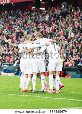 BILBAO, SPAIN - SEPTEMBER 23:Cristiano Ronaldo, Pepe and Isco are celebrating a goal in the San Mames Stadium, on September 23, 2015 in Bilbao, Spain - stock photo