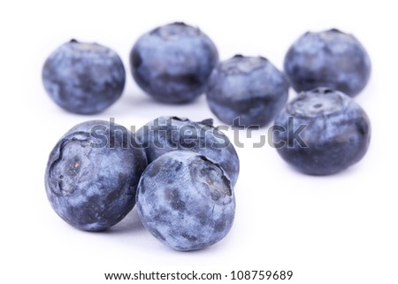 Bilberry closeup on white background