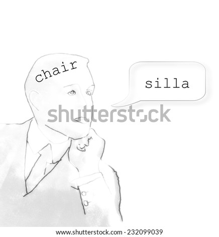 bilingual brain - stock photo