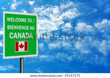 Bilingual 'Welcome to Canada' sign, photo realistic with space for your text / editorial overlay - stock photo