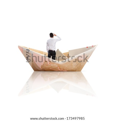 bill boat and businessman - stock photo