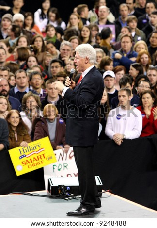Bill Clinton campaigning for his wife Hillary Clinton in Denver, Colorado in January 2008