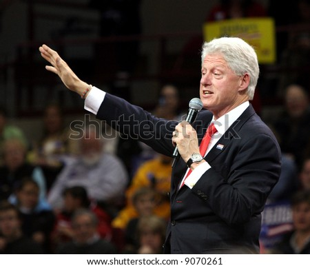 Bill Clinton campaigning for wife Hillary at the University of Denver in Colorado