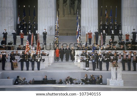 Bill Clinton, 42nd President, at Lincoln Memorial Opening Concert's pre-Inaugural event January 17, 1993 in Washington, DC - stock photo