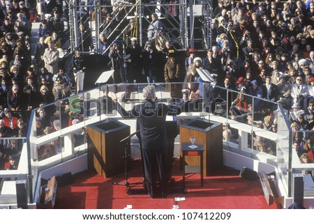 Bill Clinton, 42nd President, gives Inaugural Address on Inauguration Day 1993, Washington, DC - stock photo