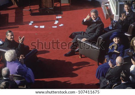 Bill Clinton, 42nd President, gives the thumbs up on Inauguration Day 1993, Washington, DC - stock photo