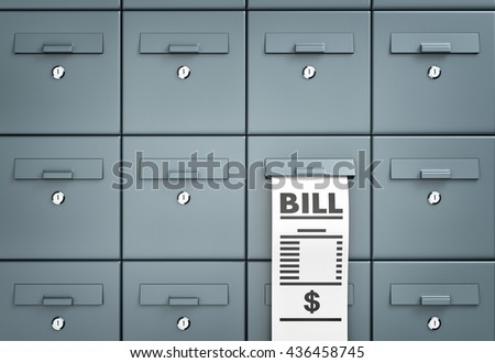 Bill. Mailboxes. Different metaphor. 3d illustration