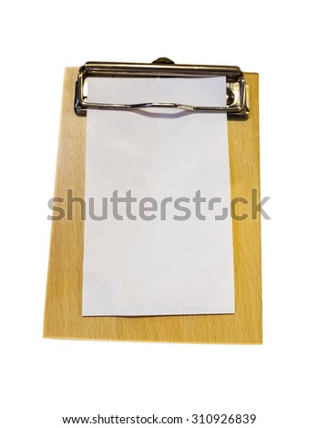 Bill money wood tray white paper blank - stock photo