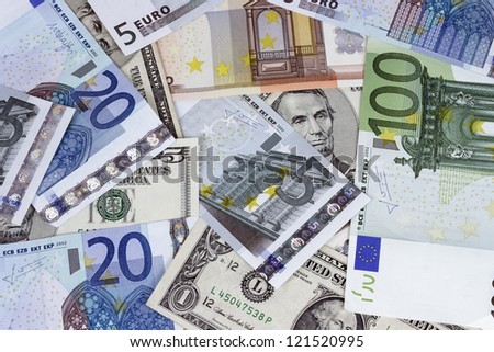 Bill of former U.S. president. Abraham Lincoln five-dollar bill combined with bills Euros - stock photo