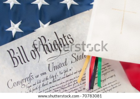 bill of rights next to Bible - stock photo