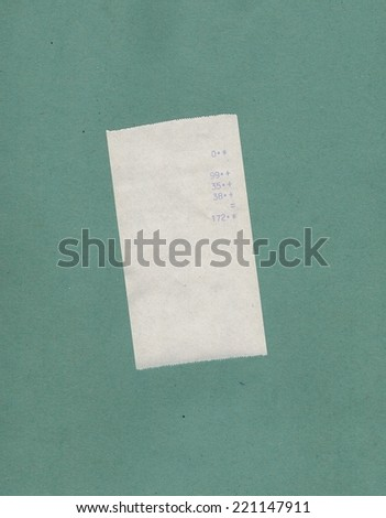 bill or receipt isolated over green blue background - stock photo