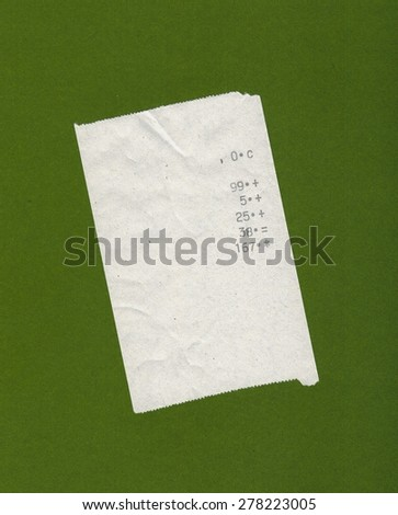 bill or receipt isolated over olive green background