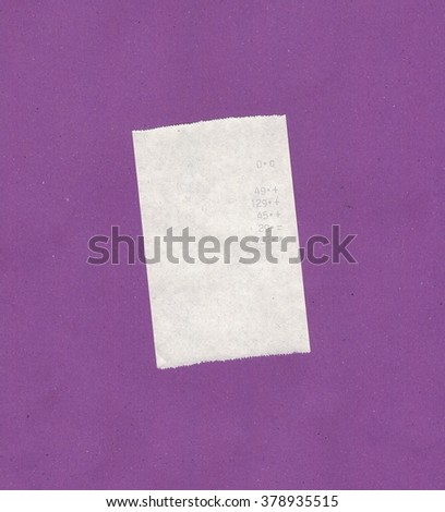 Bill or receipt isolated over violet background - stock photo