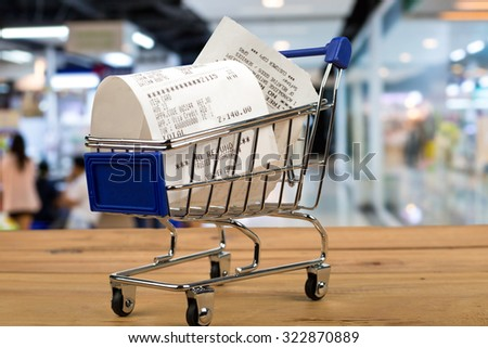 Bill paper after shopping with credit card. - stock photo