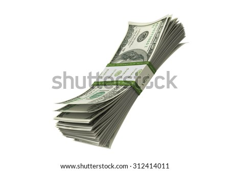 Bill paper stack in air isolated - stock photo