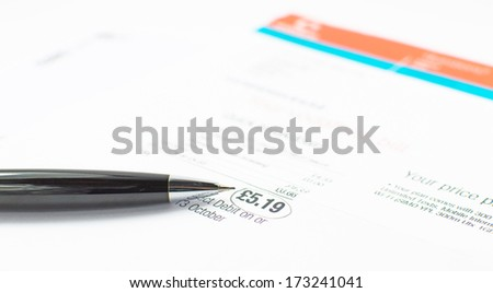 Bill to pay with amount circled with black pen - stock photo