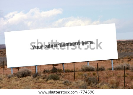 Billboard advertisement on side of the road near the Grand Canyon - stock photo