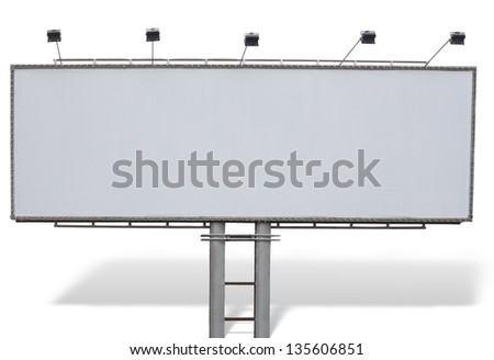 Billboard advertising panel with empty space, shadow and lights isolated over white background - stock photo