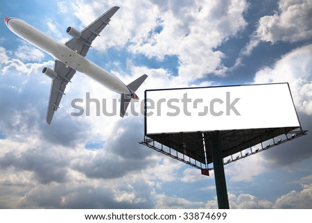 billboard and air with the blue sky background. - stock photo