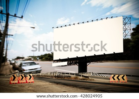 billboard and bridge with blur road and sky background