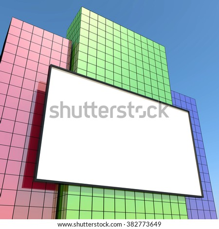 Billboard and buildings, creative illustration. Business concept.
