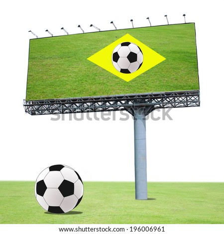 billboard and football world cup on the green field . - stock photo