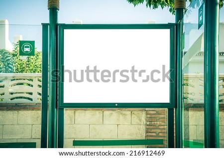 billboard at bus station - stock photo