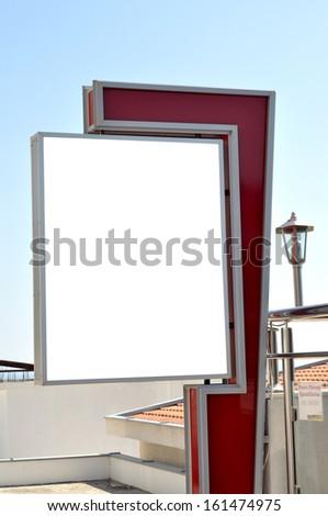 Billboard, banner, empty, white - stock photo