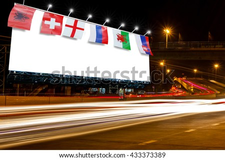 billboard blank for outdoor advertising poster or blank billboard at night time for advertisement. street light with flag abstract background for nation of Europe advertising billboard blank outdoor   - stock photo