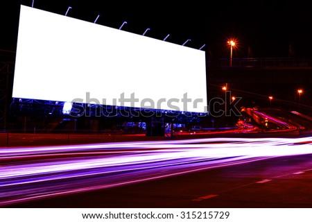 billboard blank for outdoor advertising poster or blank billboard night time for advertisement. or billboard blank street or billboard blank city night light . - stock photo
