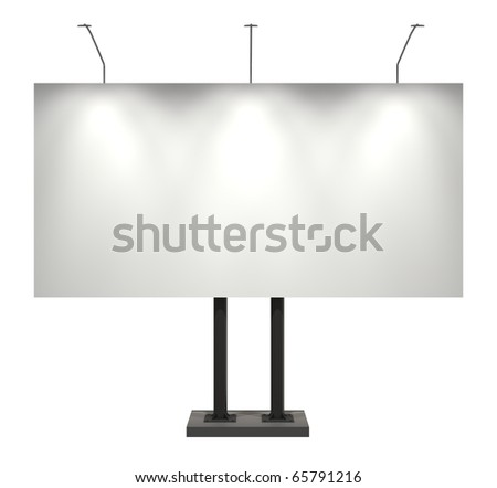 Billboard, blank, isolated on white with clipping path, 3d illustration - stock photo
