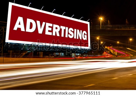 billboard blank outdoor advertising poster street night with inspiration advertising ,abstract background for billboard blank or billboard night or billboard city street advertisement concept. - stock photo