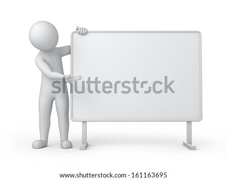 billboard, 3d human and a white empty board. 3d image with work path - stock photo