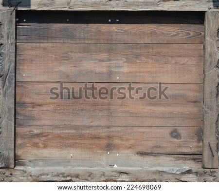 billboard for the restaurant made of wood - stock photo