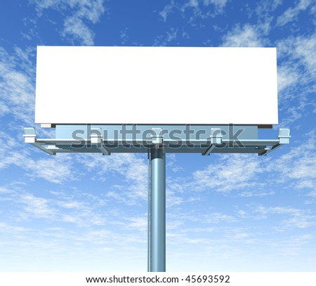 Billboard horizontal outdoor display with sky background