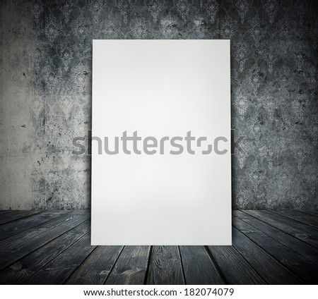 billboard in grunge room, black and white retro background