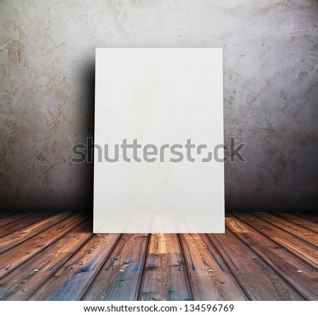 billboard in old room, background with placard - stock photo
