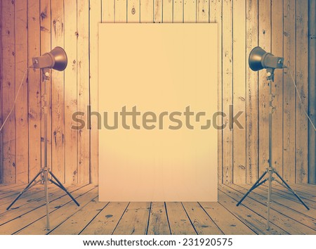 billboard in old studio, urban background with placard, retro filtered, instagram style - stock photo