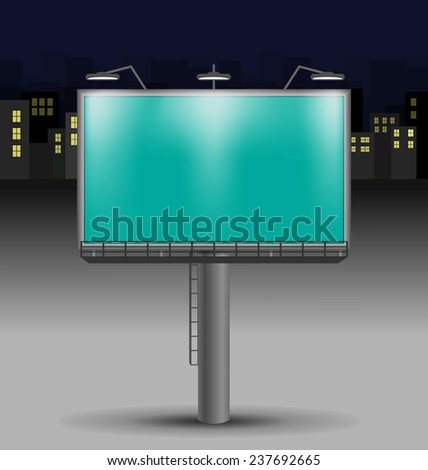 Billboard in the night city on background - stock photo