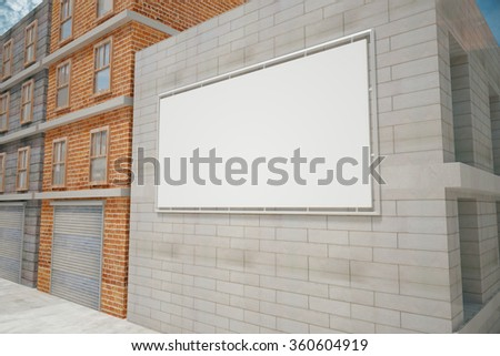 Billboard on a building wall, mock up - stock photo